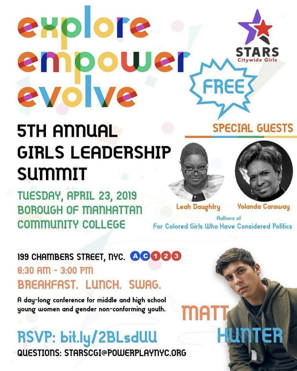 "The #STARSCGI 5th Annual Girls Leadership Summit is quickly approaching! @LeahDaughtry and @ycaraway authors of ""For Colored Girls Who Have Considered Politics"" will be a part of a panel! Cannot wait!! More info: https://t.co/dlRXYzzq7j RSVP with lisbett@girlswritenow.org https://t.co/7cjHT7bpqj"