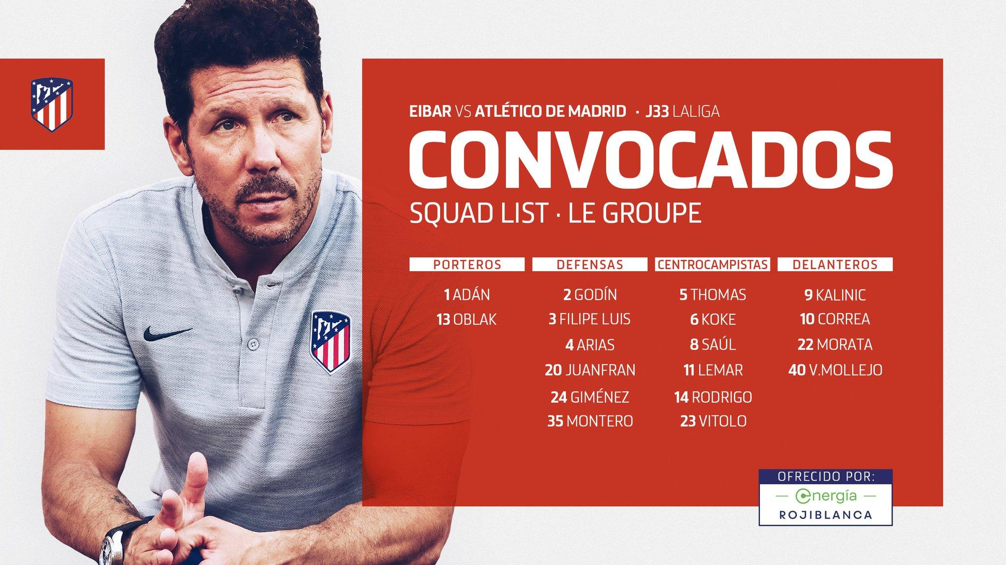 Convocatoria del Atlético de Madrid para Ipurua.
