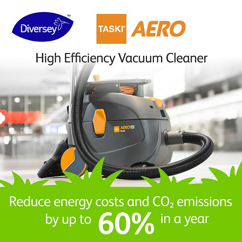 Did you know that #Diversey's #TASKIAERO is not only good for business, but good for the environment? Compared to traditional vacuum cleaner, a TASKI AERO machine can reduce both energy costs and CO₂ emissions by up to 60% in a year. Learn more: http://ow.ly/nm9P50pTyPr #EarthDay