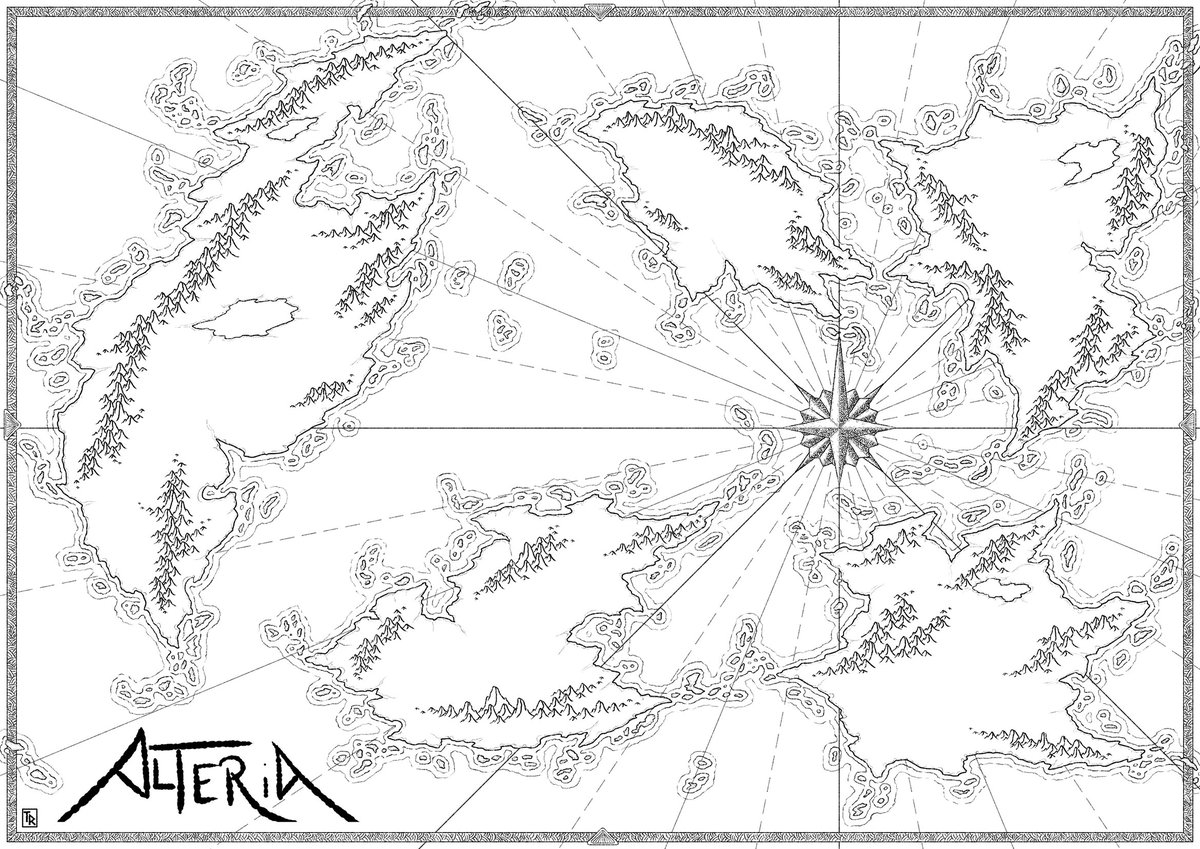 And a bit more with the #mountains #map #cartography #fantasy #fantasymap #blackandwhite #rpg #jdr #dnd #worldmap #world #willishadethemountainswithcurvedhatchingsyessimmadthatway @CartoGuild