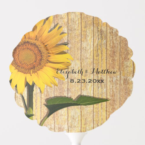 Personalized Sunflower And Wood Floral Wedding Balloon http://dlvr.it/R38Rsp #summer #sunflower #wedding