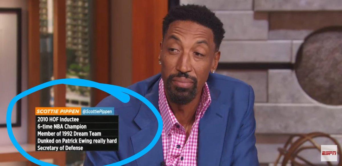 "LMAO. ""Dunked on Patrick Ewing really hard"" #NBATwitter #ScottiePippen #TheJump https://t.co/MQlNElR82l"