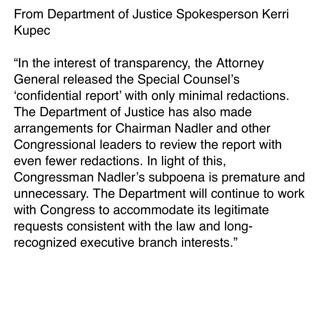 DOJ responds to @RepJerryNadler & @HouseJudiciary subpoena for full un-redacted Mueller report and evidence: