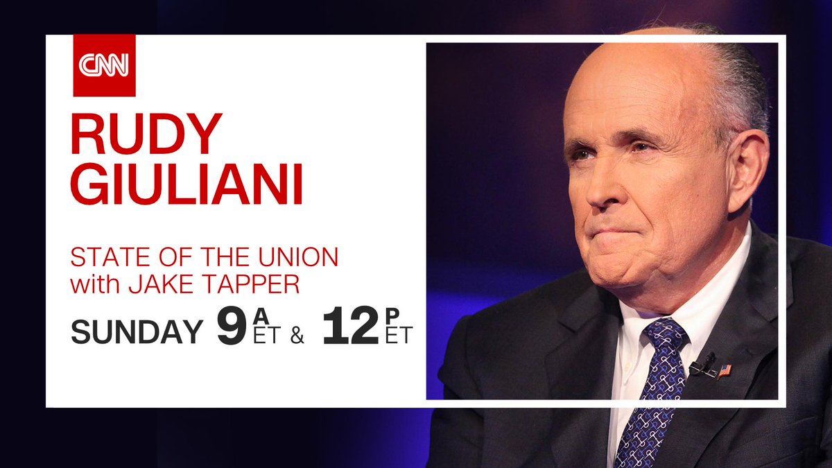 TOMORROW; @RudyGiuliani joins @jaketapper on #CNNSOTU