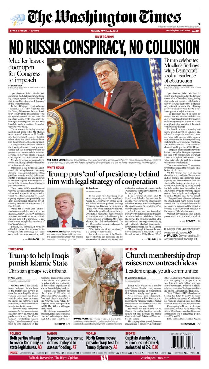 Today's #FrontPage #A1 #TWTFrontPage #Mueller #MuellerReport #IraqiChristians #Churches https://www.washingtontimes.com/