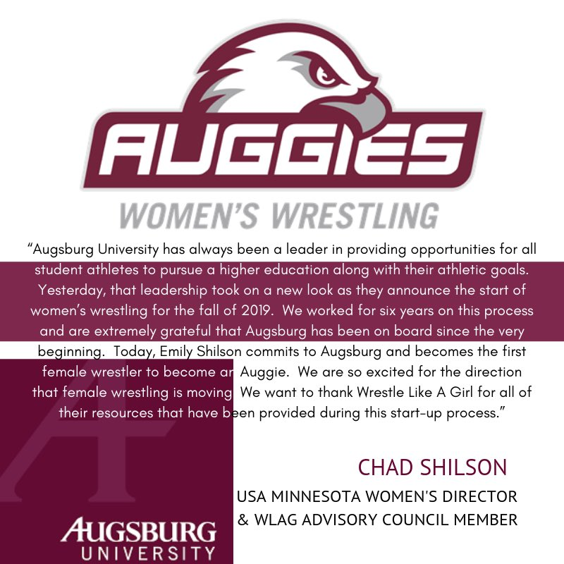 Congratulations to Augsburg University for adding Women's Wrestling to their institution on April 17th as a NCAA DIII program!   Thank you Augsburg, Minnesota, and Chad for helping to grow the the sport.   #wrestlelikeagirl #wrestlethegap #adidaswrestling #ncaawrestling