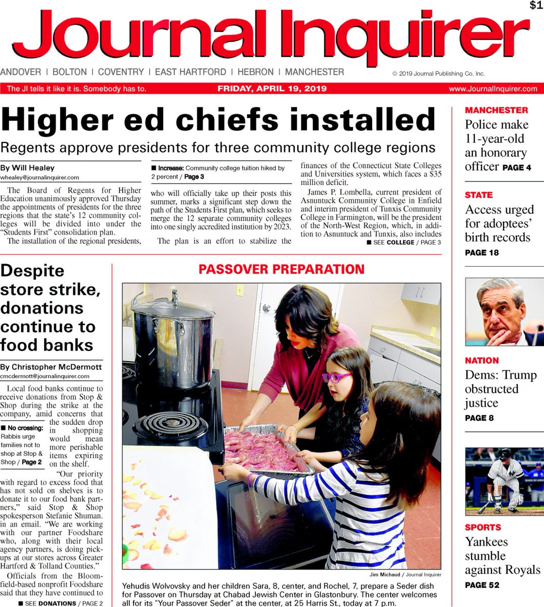 Today's front page. Visit http://journalinquirer.com for these stories and more. #ctnews #frontpage