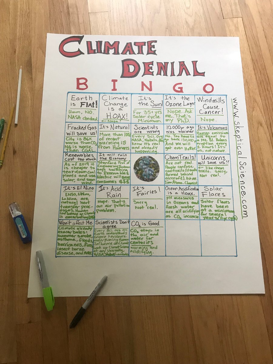 Ok, I made a Climate Denial Bingo card for today's @FFF_USA climate strike. Two more spaces left to fill. Any suggestions?<br>http://pic.twitter.com/s1JTLzSp4u