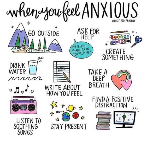 When you are feeling anxious sometimes it is difficult to get out of that feeling, so find things to get yourself out of your head so you can distract from the anxiety.