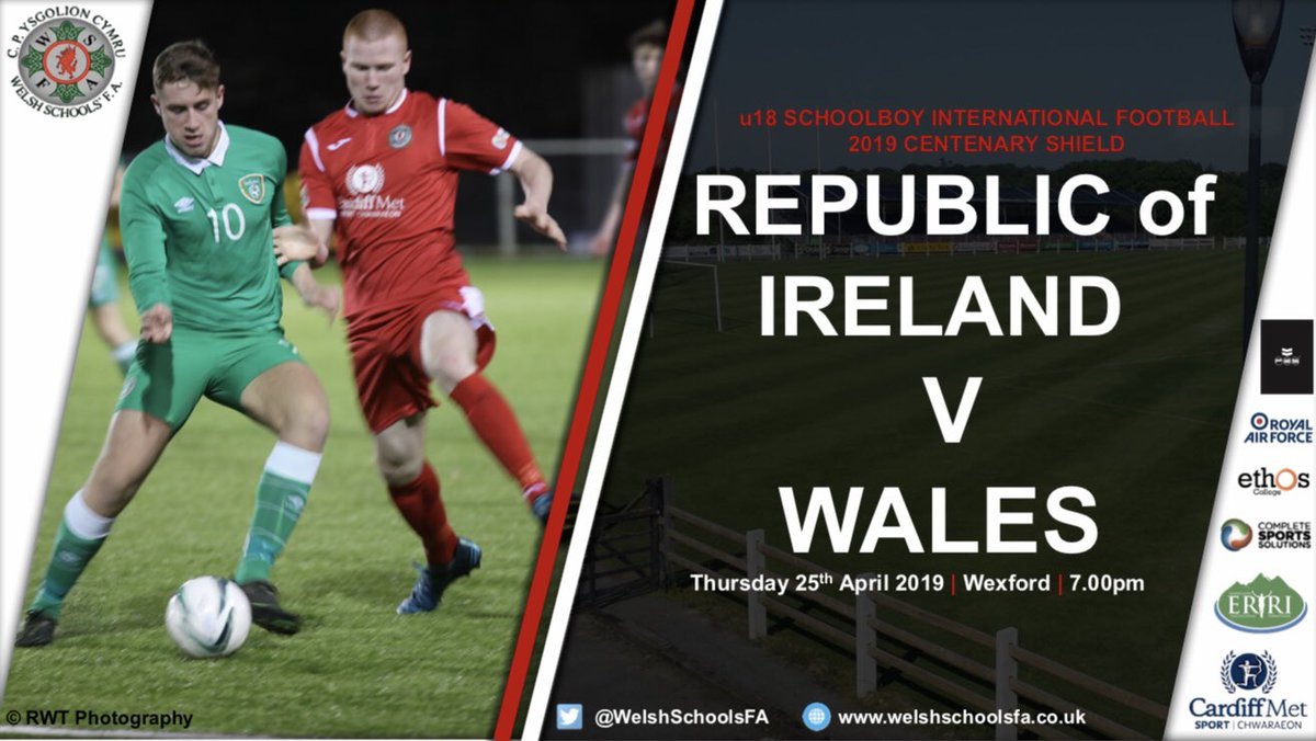 ANNOUNCEMENT   Boys U18 WSFA Update 🏴  🛡 #CentenaryShield  ⚽️ @faischools 🇮🇪 v 🏴 WALES  📆 Thursday 25th April 2019  📍Home Farm FC, Dublin🍀  ⏰ 7:00pm  📺 LIVE STREAM: FAI Schools YouTube  📲 LIVE TWITTER UPDATES  🎟 Entry: €5 adults / €2 students  👀 See you there!  #WSFA