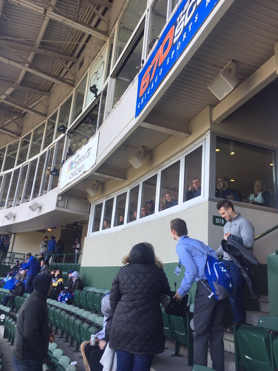 So a monitor just flew down from the announcer box. Luckily nobody was hurt @GDubCub @ESPNChiCubs   Catalina club comes with stitches