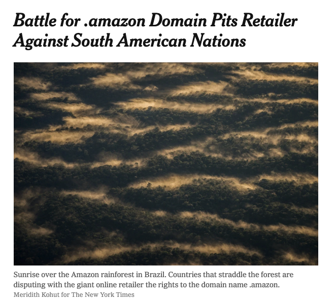 .@JeffBezos&#39;s ego knows no bounds: he&#39;s fighting 8 S American countries that contain parts of the Amazon for the &quot;right&quot; to use the .amazon domain. And he doesn&#39;t even take into account the indigenous peoples who&#39;ve called the rainforest home for millenia.  https://www. nytimes.com/2019/04/18/wor ld/americas/amazon-domain-name.html &nbsp; … <br>http://pic.twitter.com/0aKp0dmkG0