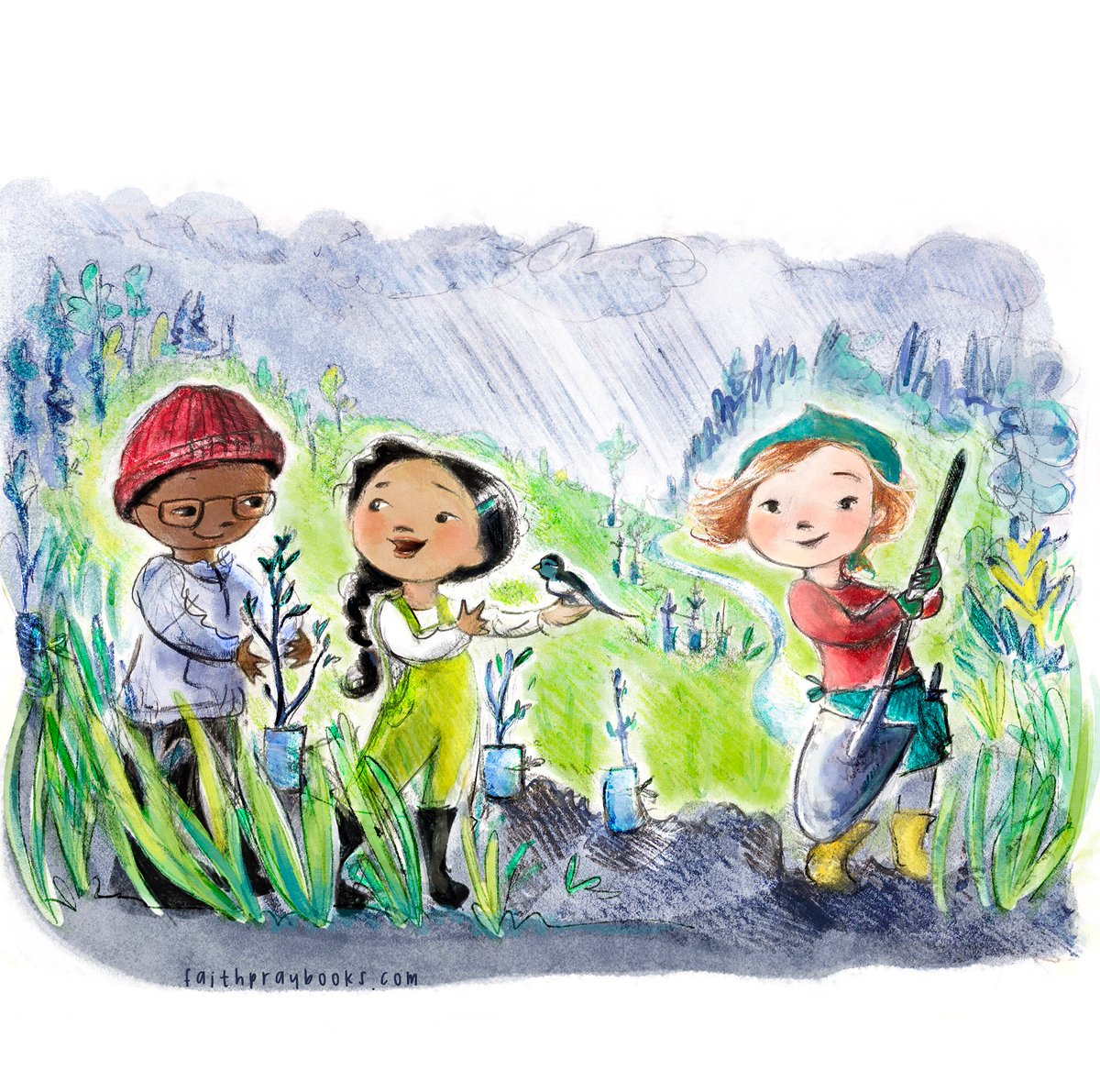 Happy Friday, friends! This is what kids do on field trips in our town - habitat restoration. Because fish need trees &amp; trees need fish.   #LemonYellow for #colour_collective #northolympicsalmoncoalition  #kidlitart <br>http://pic.twitter.com/REJ2YoSArx