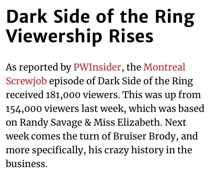 Just got great news about @DarkSideOfRing viewership.  Great sign for the show.  I've always said that wrestling fans are the most loyal fans in the world. Thank you to all who tuned in.  Love this show. Retweets welcome. @VICE @TheJimCornette