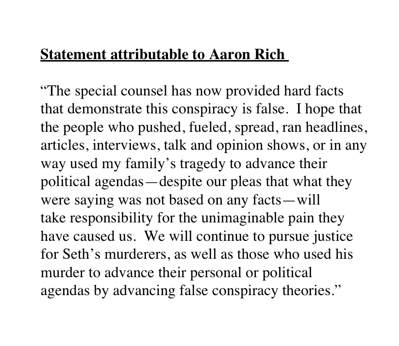 """New: Seth Rich's brother, Aaron Rich, releases statement after Mueller findings: """"Ihope that the people who pushed, fueled, spread, ran headlines, articles, interviews, talk and opinion shows...will takeresponsibilityfor the unimaginable pain they have caused us."""""""