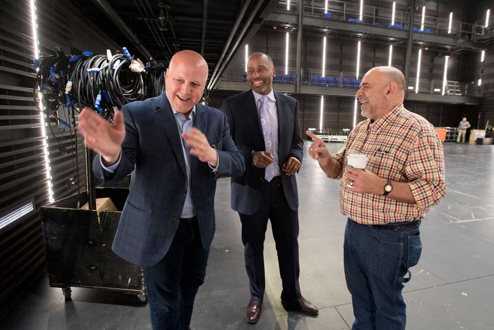 .@MitchLandrieu, mayor of New Orleans (2010-2018), talked with @BUArts students about his passion for theater and his life in politics. — Here, Landrieu (from left) toured the Booth Theatre with @HarveyYoungBU and Jim Petosa, School of Theater director.