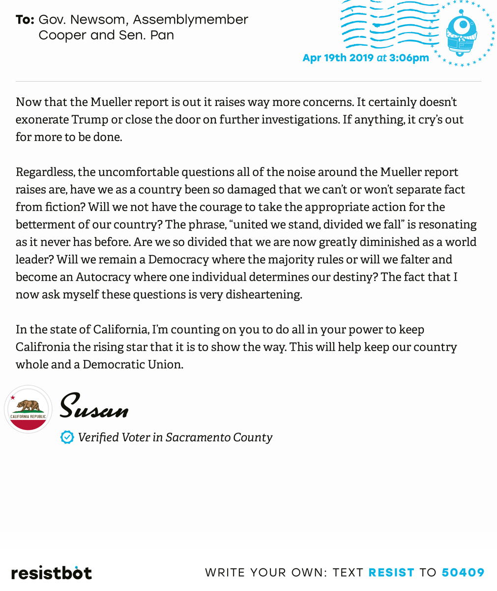 I just delivered this letter from @susanpcooper to @GavinNewsom, Assemblymember Cooper and Senator Pan #capols #capolitics #ReleaseTheReport