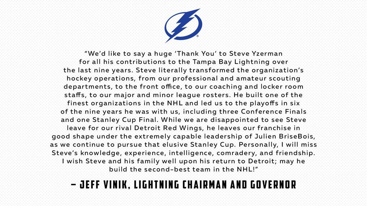 Mr. Vinik on the @detroitredwings' hiring of Steve Yzerman:
