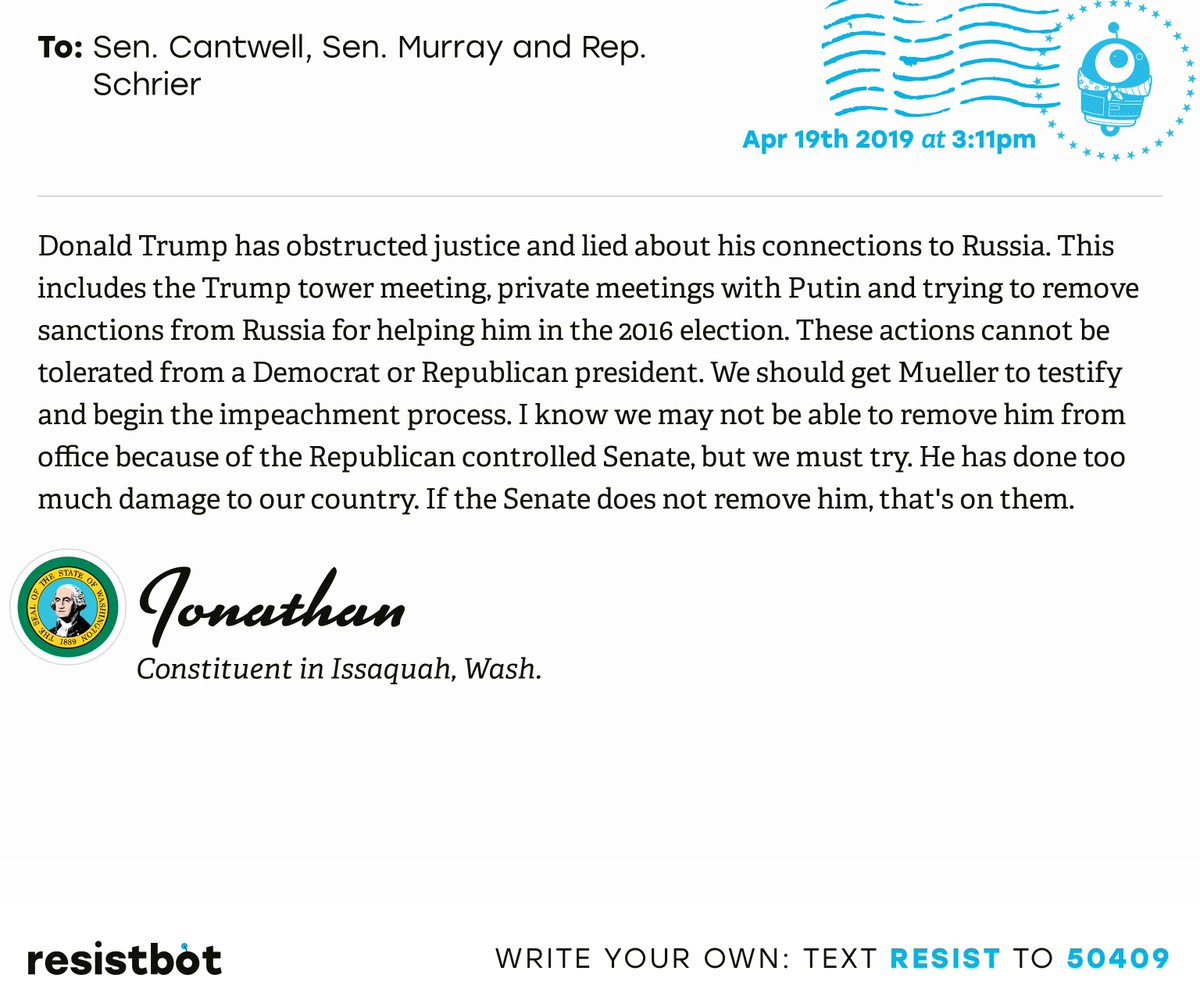 I just delivered this letter from Jonathan in Issaquah, Wash. to @SenatorCantwell, @PattyMurray and @RepKimSchrier #wapols #wapolitics #ReleaseTheReport