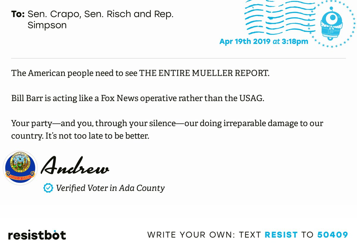 I just delivered this letter from Andrew in Boise, Idaho to @MikeCrapo, @SenatorRisch and @CongMikeSimpson #idpols #idpolitics #ReleaseTheReport