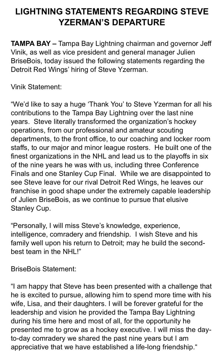 Statements from #GoBolts owner Jeff Vinik and GM Julien BriseBois on Steve Yzerman's departure