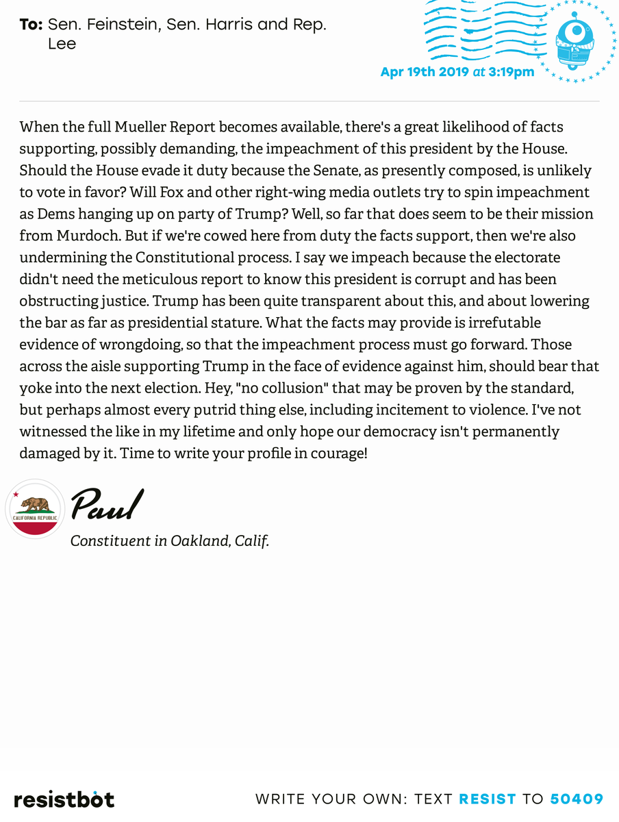 I just delivered this letter from Paul in Oakland, Calif. to @SenFeinstein, @SenKamalaHarris and @RepBarbaraLee #capols #capolitics #ReleaseTheReport