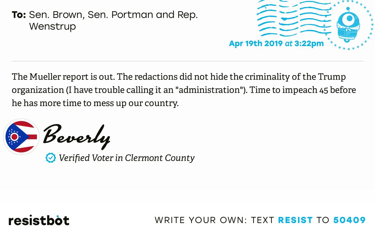 I just delivered this letter from Beverly in Loveland, Ohio to @SenSherrodBrown, @SenRobPortman and @RepBradWenstrup #ohpols #ohpolitics #ReleaseTheReport