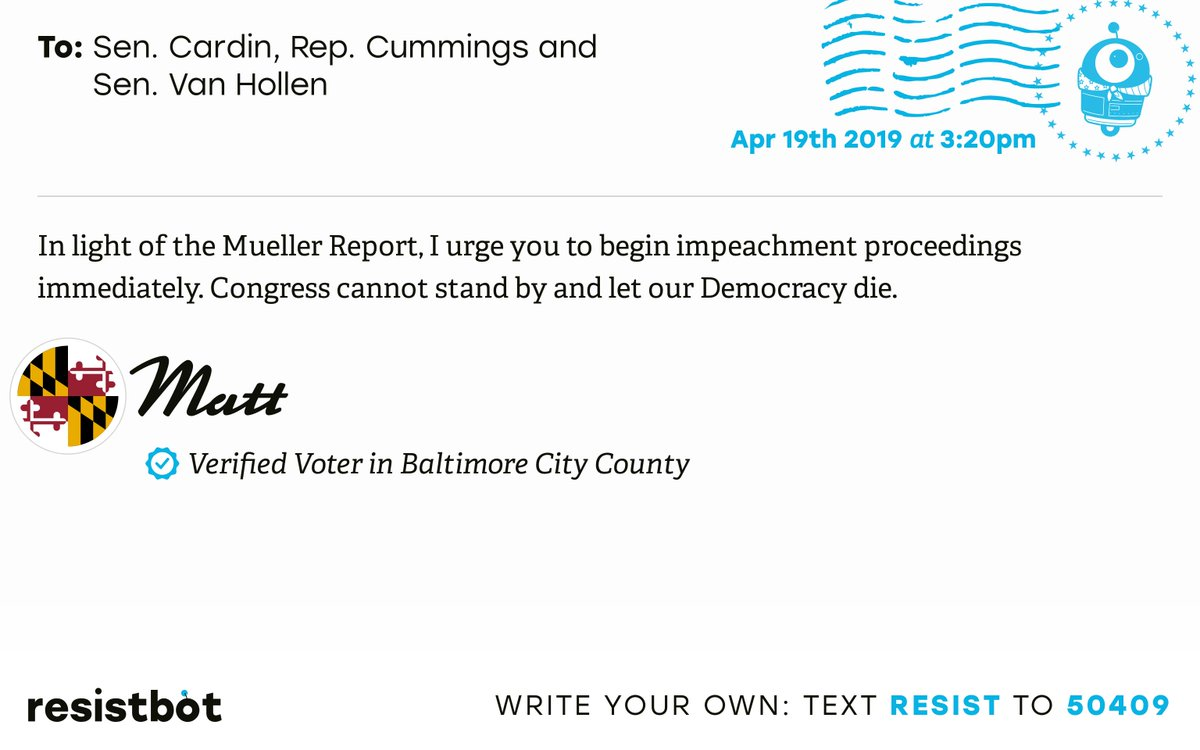 I just delivered this letter from Matt in Baltimore, Md. to @SenatorCardin, @RepCummings and @ChrisVanHollen #mdpols #mdpolitics #ReleaseTheReport