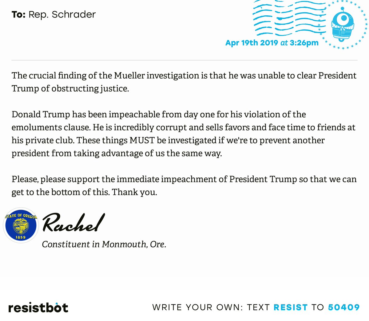 I just delivered this letter from Rachel in Monmouth, Ore. to @RepSchrader #orpols #orpolitics #ReleaseTheReport