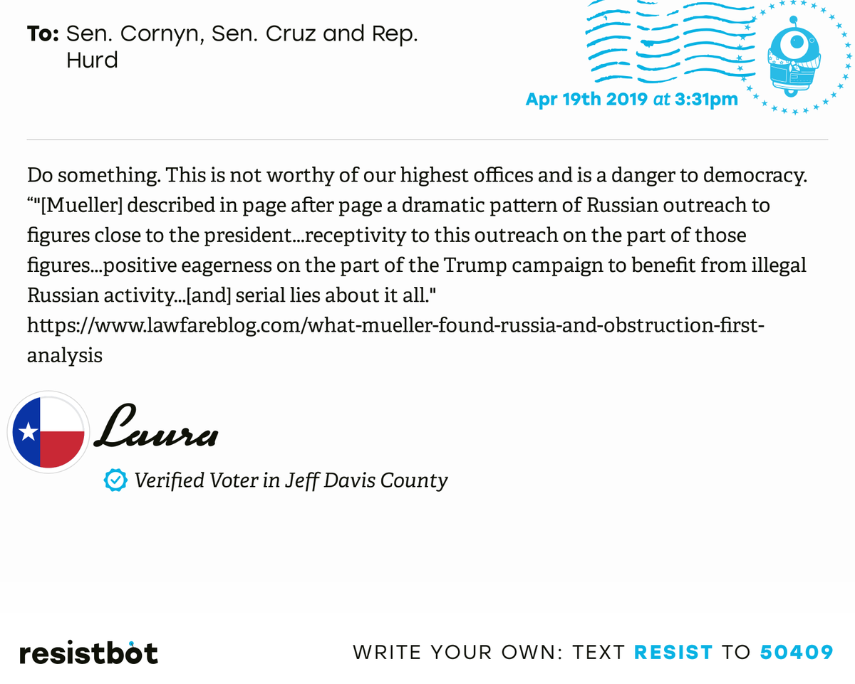 I just delivered this letter from Laura in Mcdonald Obs, Texas to @JohnCornyn, @SenTedCruz and @hurdonthehill #txpols #txpolitics #ReleaseTheReport