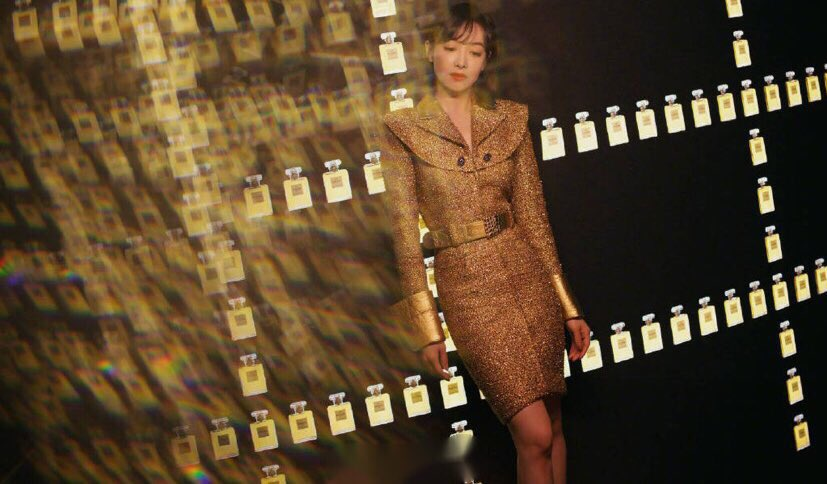 Qian at Chanel's Mademoiselle Prive exhibition in Shanghai, 2019
