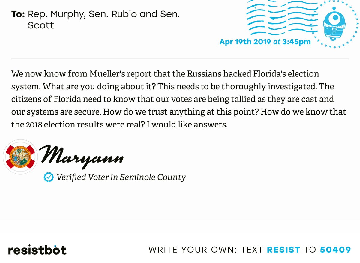 I just delivered this letter from Maryann in Oviedo, Fla. to @RepStephMurphy, @marcorubio and @SenRickScott #flpols #flpolitics #ReleaseTheReport