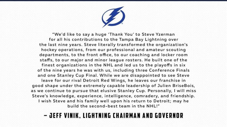 Mr. Vinik's response to Yzerman leaving the @TBLightning! Yzerman apologized for not bringing the cup to Tampa during his time but hopes we win one soon. #GoBolts #BeTheThunder #TBLightning #BelieveinJBB