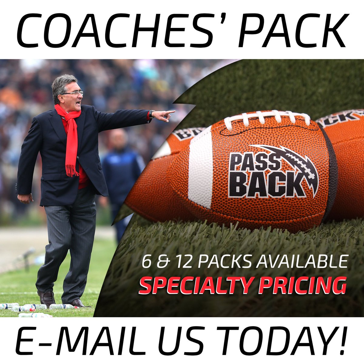 🏈 #FOOTBALL #COACHES 🧢 gear up for #springtraining and #summercamp with our 6/12 pack of #PassbackFootballs. E-mail/DM us for details 🤑 sales@passbacksports.com #quarterbacktraining #footballcamp #footballdrills #youthfootball #footballcoach #flagfootball