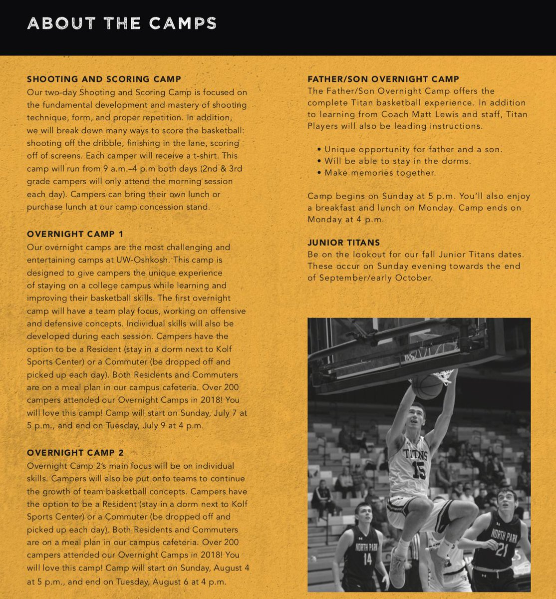 Our program can't wait for our annual Summer Basketball Camps! We are hosting two Overnight Camps, a Father-Son Overnight Camp, and a Shooting & Scoring Camp! More info can be found here: …http://mensbasketball.uwoshkoshsportscamps.com