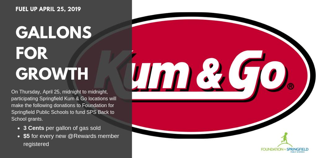 This Thursday, April 25 is Kum & Go Gallons for Growth 24 hr fundraiser for FSPS Back to School grants! Fill up and support our SPS classrooms! #Support4SPS #GallonsforGrowth