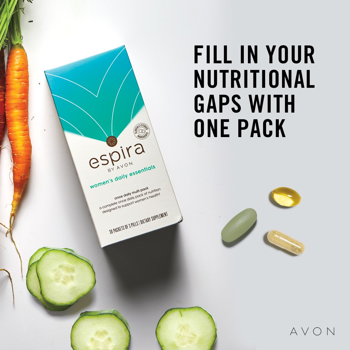 Fill in your nutritional gaps with one pack. #Healthy#spa #beauty #relax #health #wellness #yoga #massagetherapy #love #meditation #natural #lifestyle #selfcare #Espira #DailyEssentials http://go.youravon.com/3crn4d