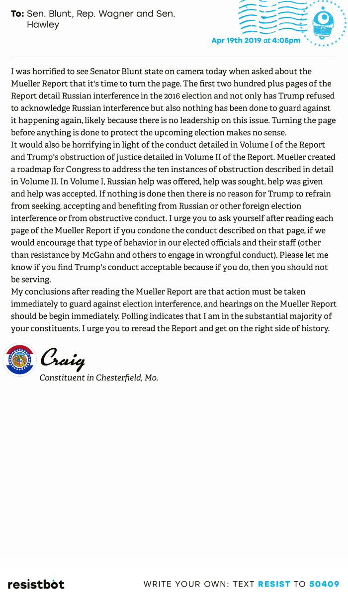 I just delivered this letter from Craig in Chesterfield, Mo. to @RoyBlunt, @RepAnnWagner and @SenHawleyPress #mopols #mopolitics #ReleaseTheReport