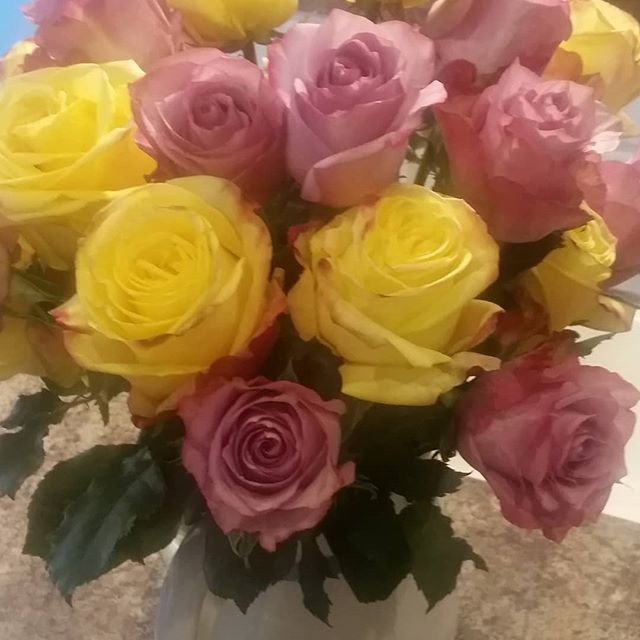 Happy 22nd Wedding Anniversary to my hubby! He snuck off while I was sleeping and surprised me with roses! Pink and yellow, my favorite!  #love #happyfriday #happiness #happyanniversary #anniversary #stillgoingstrong #roses #surprise #favorite #hubby #lo… http://bit.ly/2DjNA0f