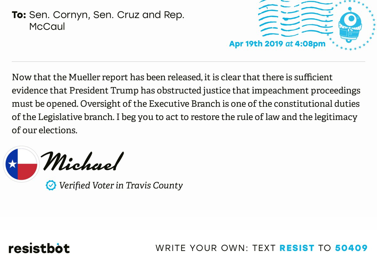 I just delivered this letter from Michael in Austin, Texas to @JohnCornyn, @SenTedCruz and @RepMcCaul #txpols #txpolitics #ReleaseTheReport
