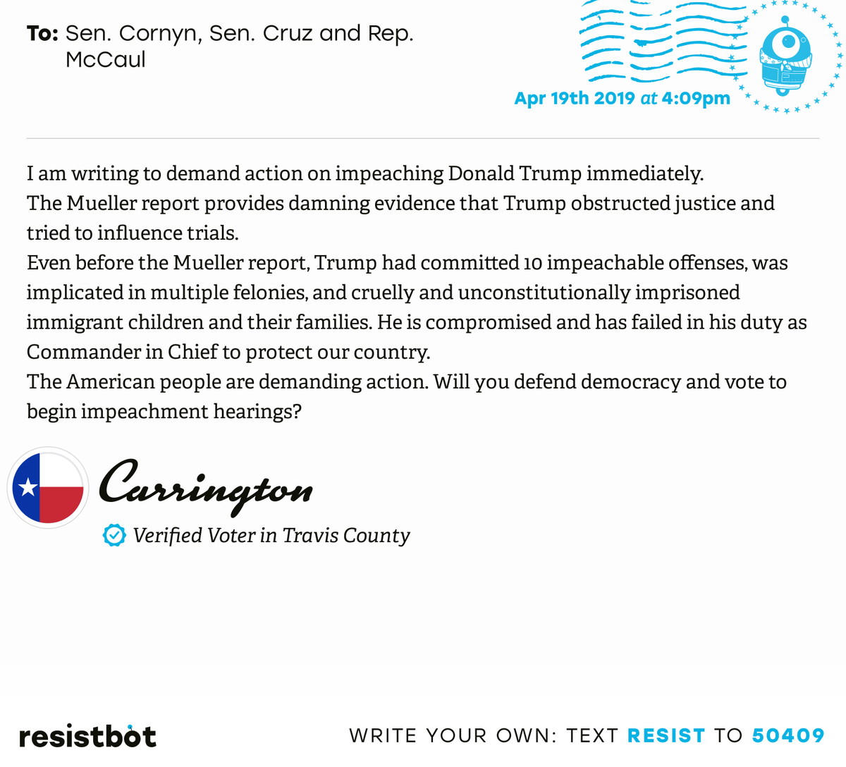 I just delivered this letter from Carrington in Austin, Texas to @JohnCornyn, @SenTedCruz and @RepMcCaul #txpols #txpolitics #ReleaseTheReport