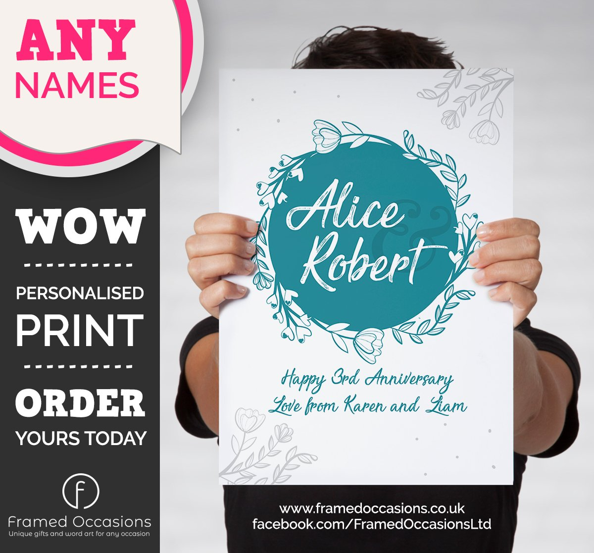 Personalised 3rd Wedding Anniversary Print (Named). Third anniversary wall art to celebrate 3 years as Mr and Mrs. MESSAGE WITH ORDERS  #3rdanniversary#personalisedprint#weddinganniversary#anniversary
