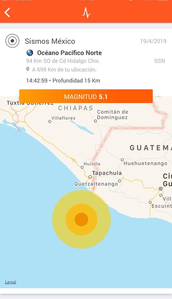 Sismo frente las costas de Chiapas 🇲🇽 - San Marcos 🇬🇹 M5.1 (SSN). Epicentro alejado más de 90 km de la costa; intensidad muy débil (NO se alerta).