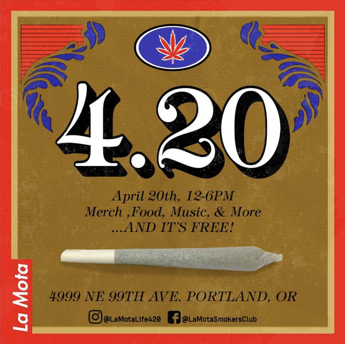 Come celebrate #420 with merch, free food, vendors and $2 grams all day.  I'll be there filming with my dude @_WEEB_   #weed #cannabis #lamota
