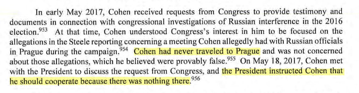 Amazingly, this one paragraph debunks two huge stories. 1) Michael Cohen never went to Prague, undermining once and for all a core element of Steele Dossier mythology 2) Trump not only didn't instruct Cohen to lie to Congress (per BuzzFeed) he instructed him to cooperate