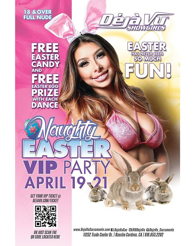 🐇🐣🍬 Our NAUGHTY #EASTER VIP PARTY kicks off tonight at #dejavusacramento! Easter has never been so fun! Free Easter candy and more! Hop down for some fun with our sexy bunnies! . . . #seeher #sacramento #sexyboobs #beautiful #party #night #hot #damn … https://www.instagram.com/p/BwcyujShb18/