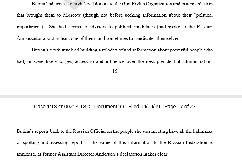 "In late sentencing filing, prosecutors say Maria BUTINA should get 18 months for providing information of ""immense"" value to Russia about how to access high level Republican officials."