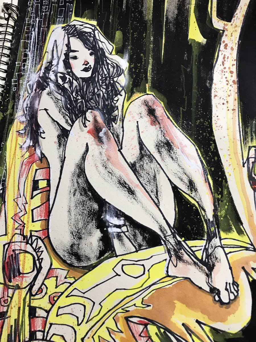 Cosmic crossroads with a decent mixtape and brown bag lunch.  #mixedmedia #friday #sketchbook #cosmic #crossroads #metal #brownbag #lunch #mixtape #topless #nude #psychedelic #destruction #visualfunk #foodone #jimmahfood