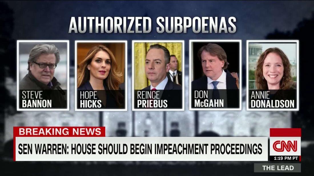 Sen Elizabeth Warren calls for House to start impeachment proceedings against Trump @mkraju reports @TheLeadCNN https://cnn.it/2UHGs8K