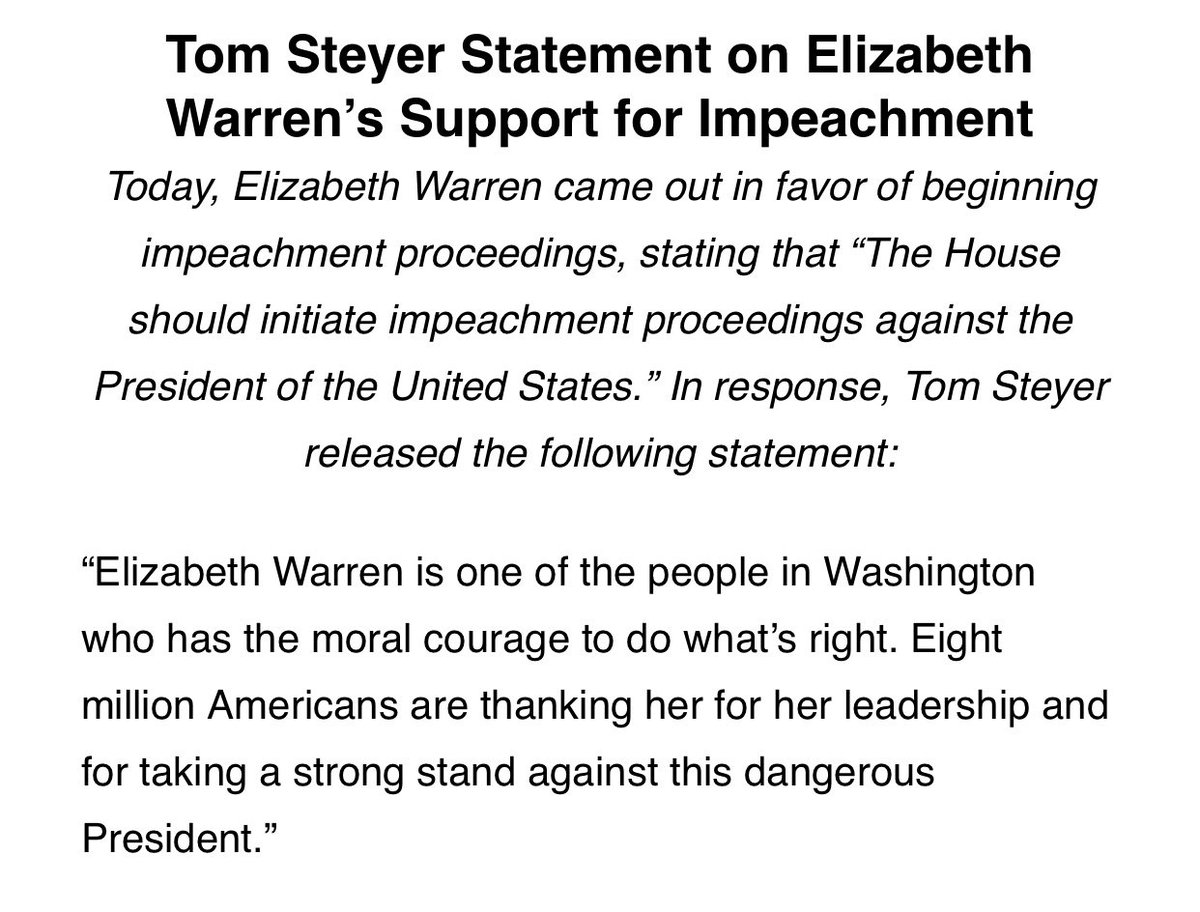 Warren's call for impeachment gets a round of applause from @TomSteyer